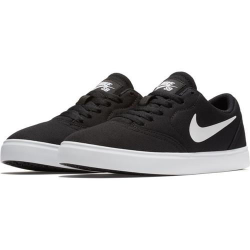 Nike SB Check Canvas Kids Skateboarding Shoes - Black / White