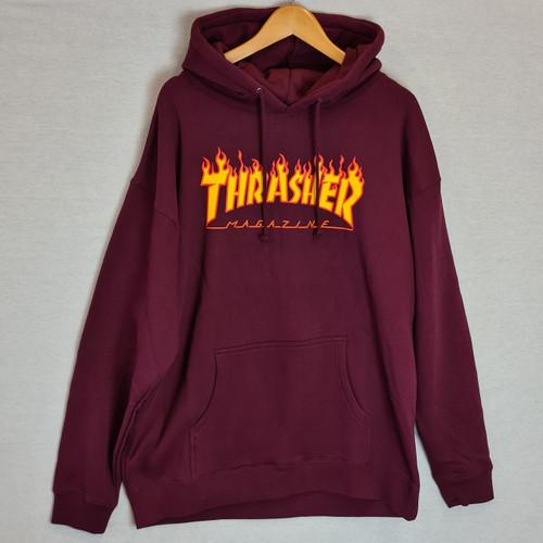 Thrasher Flame Logo Hoodie - Burgundy Maroon