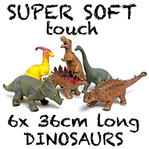 Dinosaur Medium,  group of 6, Super Soft Touch