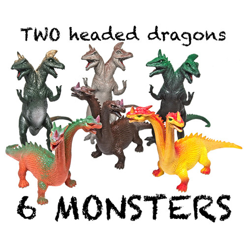 Medium Two Headed, Mythical Monsters Hard Feel Set of 6