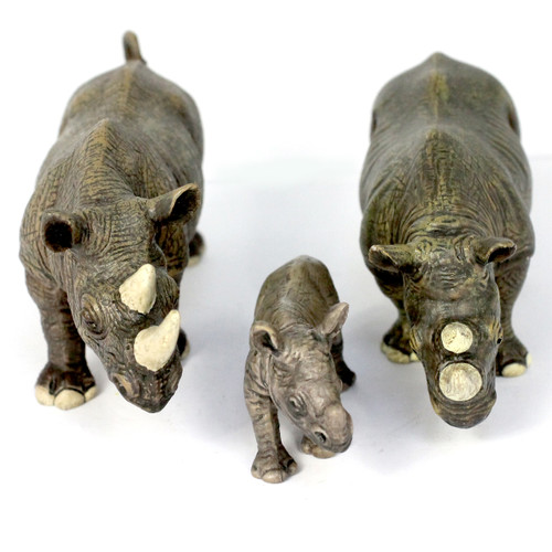 Small Rhino Family, Different Sizes Realistic Detail Set of 3