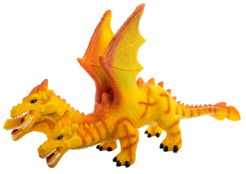 Dragon Large, Toddler Soft Mythical Three Headed Yellow