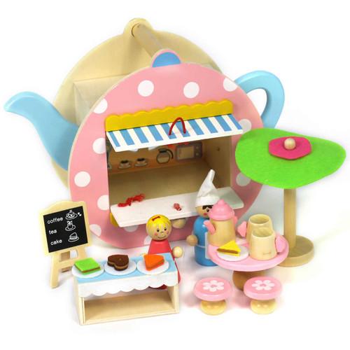 Portable Wooden Teapot Playset