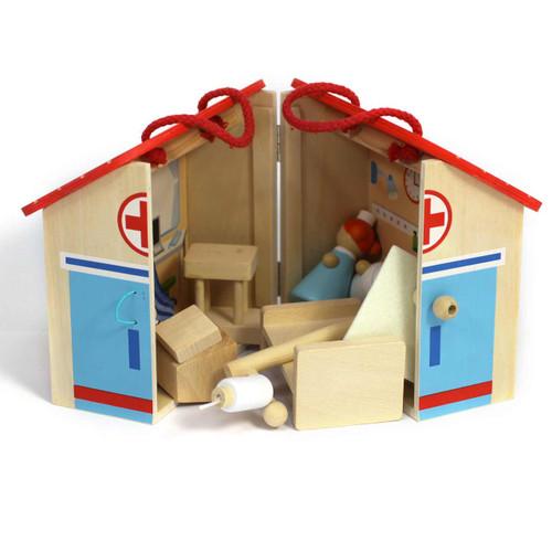 Portable Wooden Hospital Playset