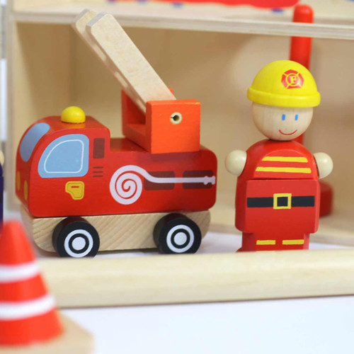 Portable Wooden Fire Station Playset 1