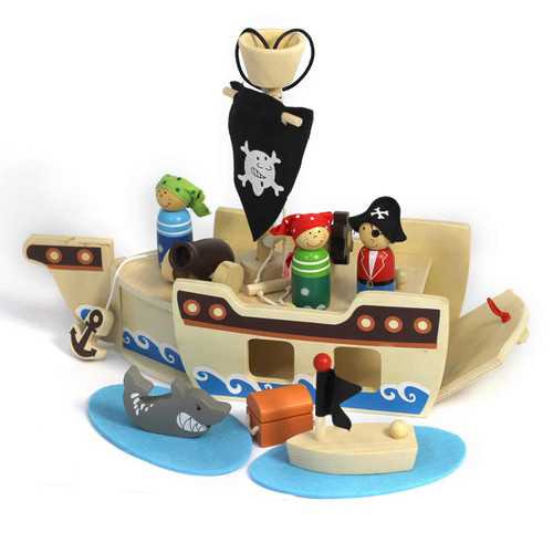 Portable Wooden Pirate Playset