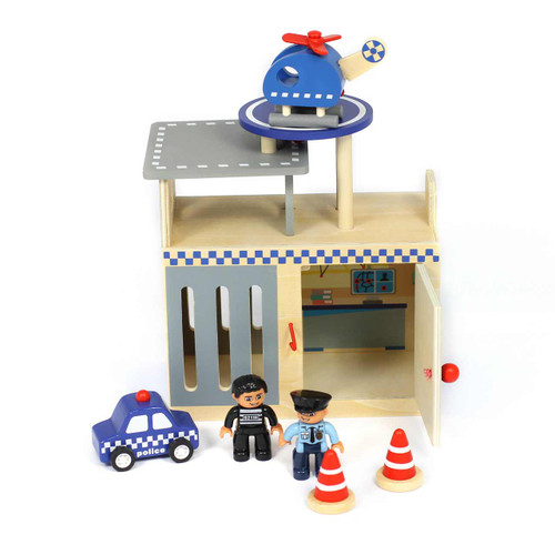 Portable Wooden Police Playset