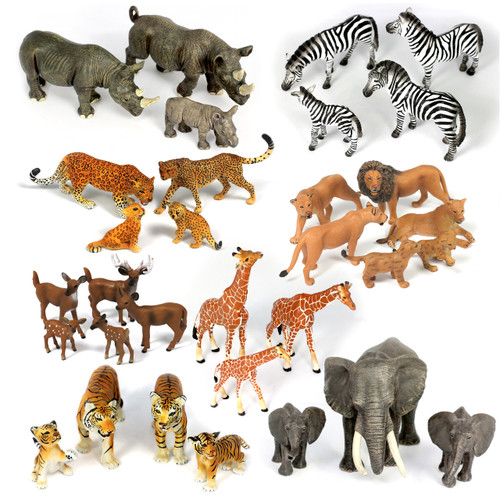 Small Safari Animal Family Bundle 32PC