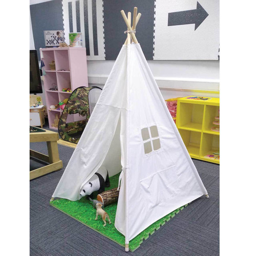 120 x 120 x 145cm Wooden Pole Canvas TeePee