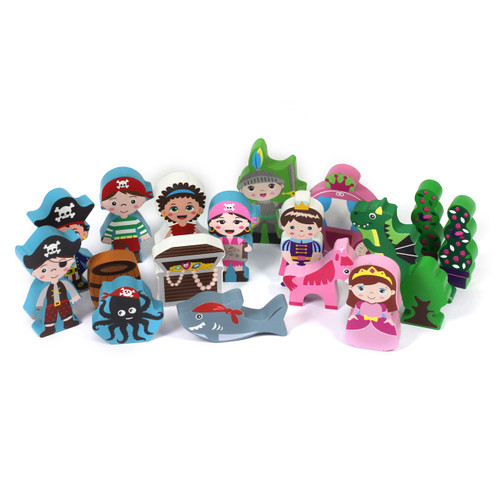 Assorted Bundle 15mm Wooden Characters 79pcs