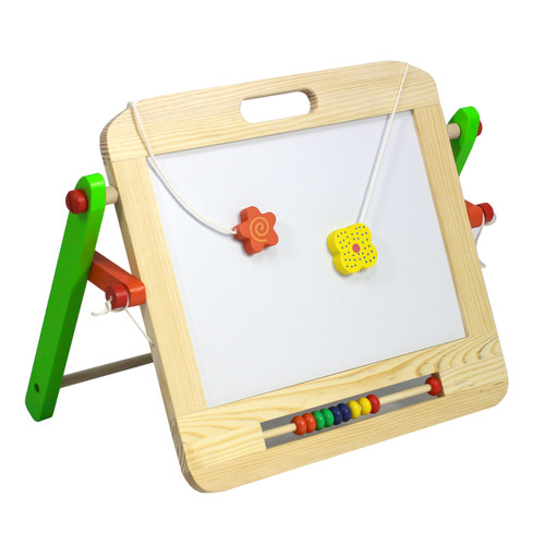 Table top easel, made from solid wood.  Double sided whiteboard/ chalkboard. Great for mark making and art class. easy to fold away for storage.