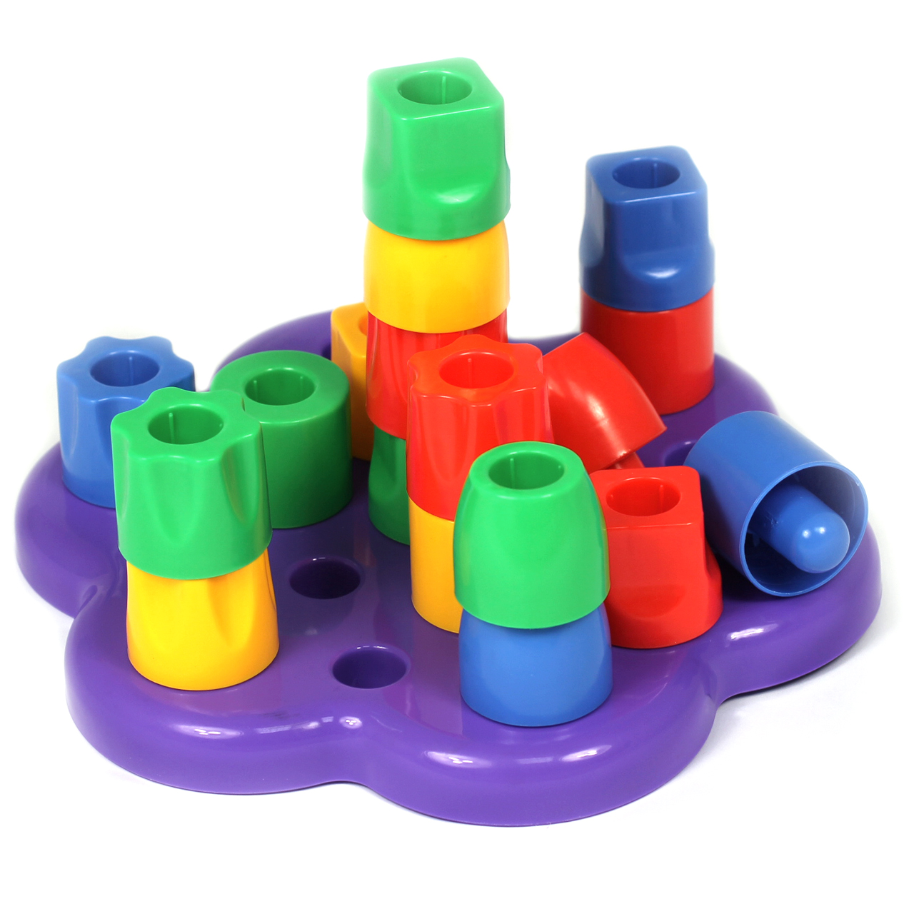 19PC Construction Set Stack Pegs Various Colours