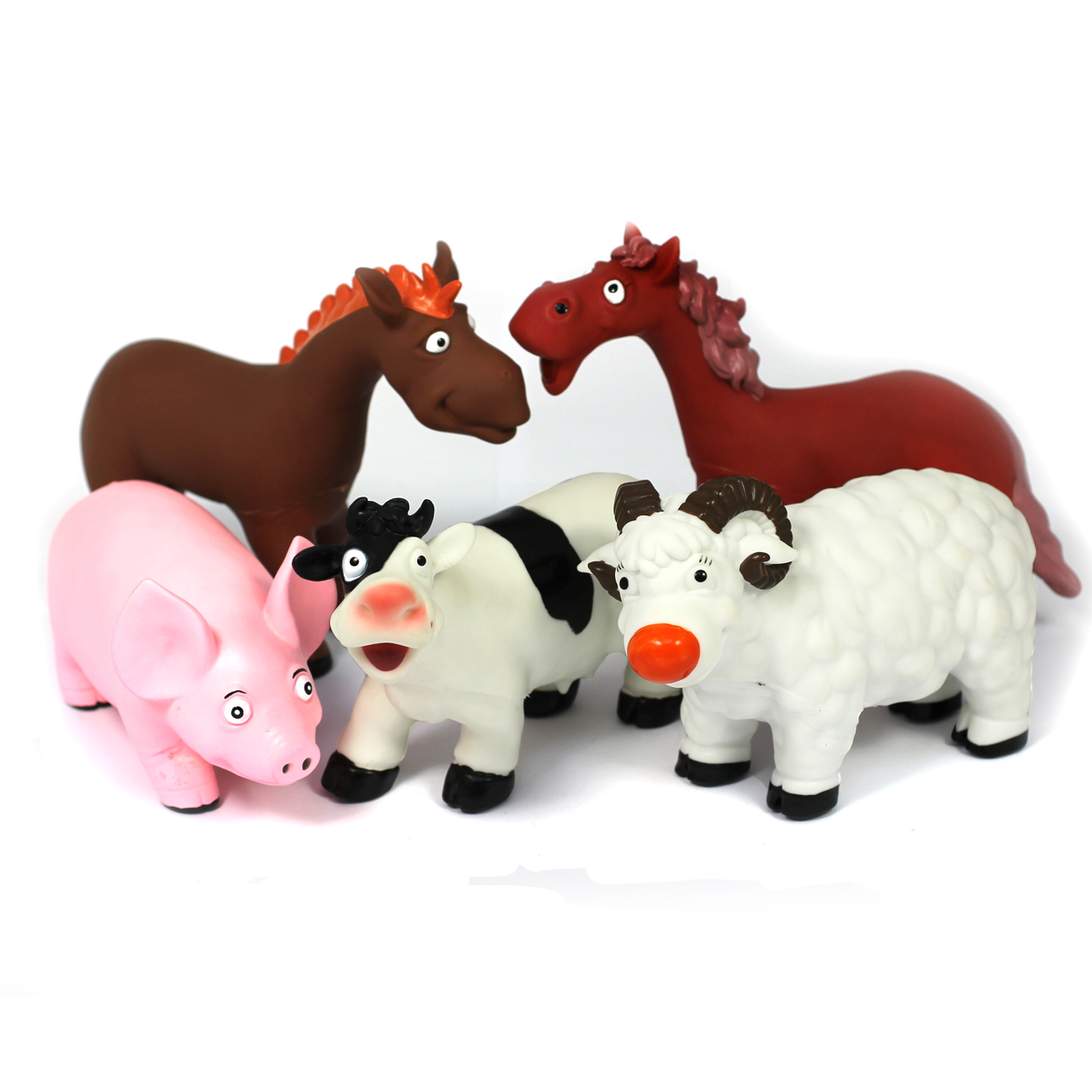 Soft Feel Cartoon Style Farm Animal Bundle Of 5