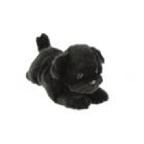 Black Pug Dog Plush Toy Smaller Lying, Puddles