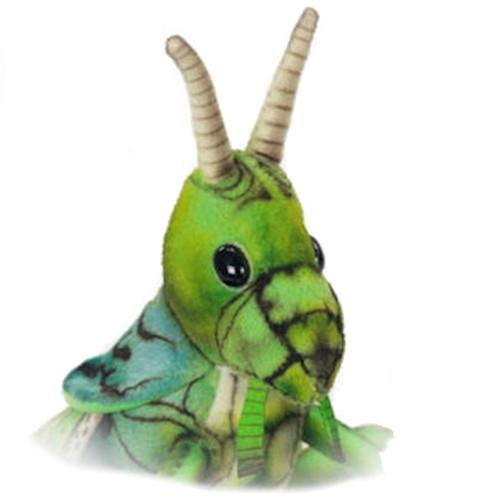 Face detail, Hansa Green Locust Insect Stuffed Animal Plush Toy 27cm