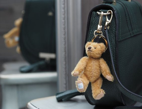 Edward Bear Key Charm, AA Milne Pooh Bear key ring Merrythought UK