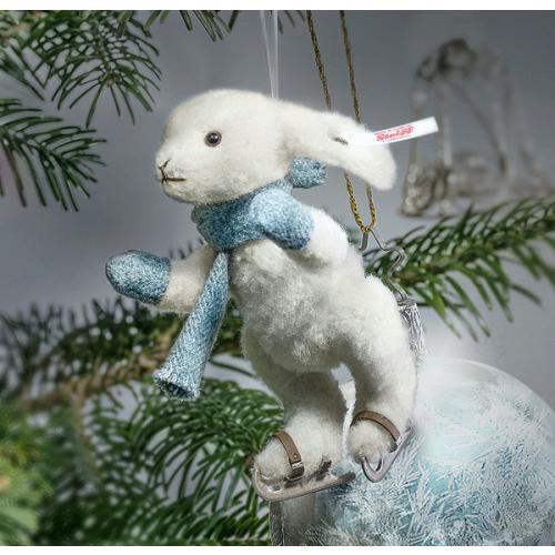 Christmas Rabbit Ice Skater Ornament, Steiff 007149