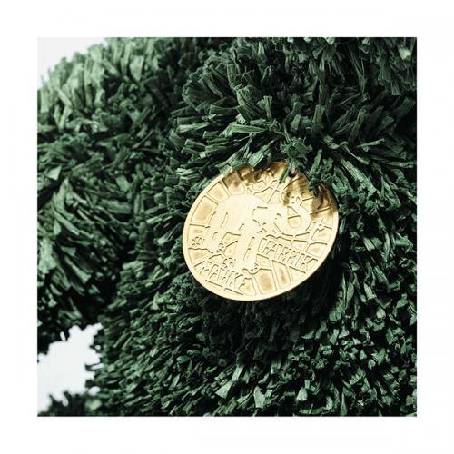 Green Christmas Teddy Bear Steiff, 006036 medallion