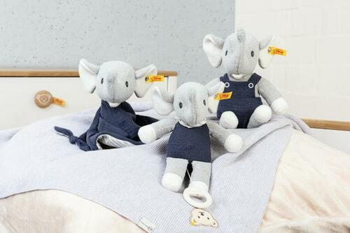 Eliot Elephant Music Box GOTS Steiff, Comforter & Toy Group