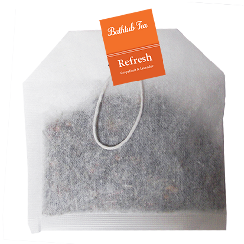 Bathtub Teas are handmade with all-natural herbs, flowers and essential oils, providing all the therapeutic benefits of an herbal bath without the mess. They can be used in the bathtub or as a facial steam. Bathtub Teas fit nicely inside of a greeting card.  Rejuvenate with uplifting Grapefruit & Lavender.  Grapefruit essential oil has a bright, citrusy aroma. Energizing and uplifting, Grapefruit has a stimulating effect on the mind while working as a powerful antioxidant.  Lavender essential oil has a sweet, herbal aroma with soft underlying florals. Lavender has calming, rejuvenating effects and is an amazing natural antiseptic and antibiotic.  Ingredients: Lavender, Orange Peel, Lemongrass, Coriander, Ginger, Essential Oil Blend.