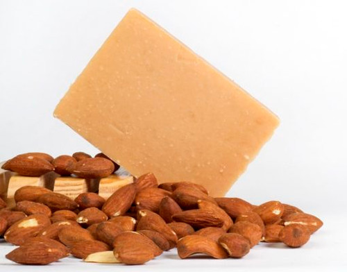 Almond Cream – Luscious, creamy almond – truly addictive!  Soaps made with milk have the pH closest to that of our own our skin, making it the most gentle of soaps. In its unique ability to moisturize, nourish and retain its goodness, goat milk is truly a pure and natural beauty aid. Goat milk soaps are often prescribed for people with skin conditions such as eczema and psoriasis.  Comes in sample (hotel) size, bath size, and full log that yields about 14 one-inch bars (specify cut or uncut, otherwise, it will arrive uncut)  INGREDIENTS: soap base (goat milk, olive oil, palm oil, coconut oil, soybean oil, palm kernel oil, sodium hydroxide), fragrance oil