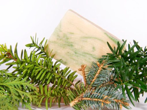 Spruce and fir essential oils make this crisp and fresh like walking through an evergreen forest.  Soaps made with milk have the pH closest to that of our own our skin, making it the most gentle of soaps. In its unique ability to moisturize, nourish and retain its goodness, goat milk is truly a pure and natural beauty aid. Goat milk soaps are often prescribed for people with skin conditions such as eczema and psoriasis.  Comes in sample (hotel) size, bath size, and full log that yields about 14 one-inch bars (specify cut or uncut, otherwise, it will arrive uncut)  INGREDIENTS: soap base (goat milk, olive oil, palm oil, coconut oil, soybean oil, palm kernel oil, sodium hydroxide), essential oils of fir and spruce, chromium oxide green pigment