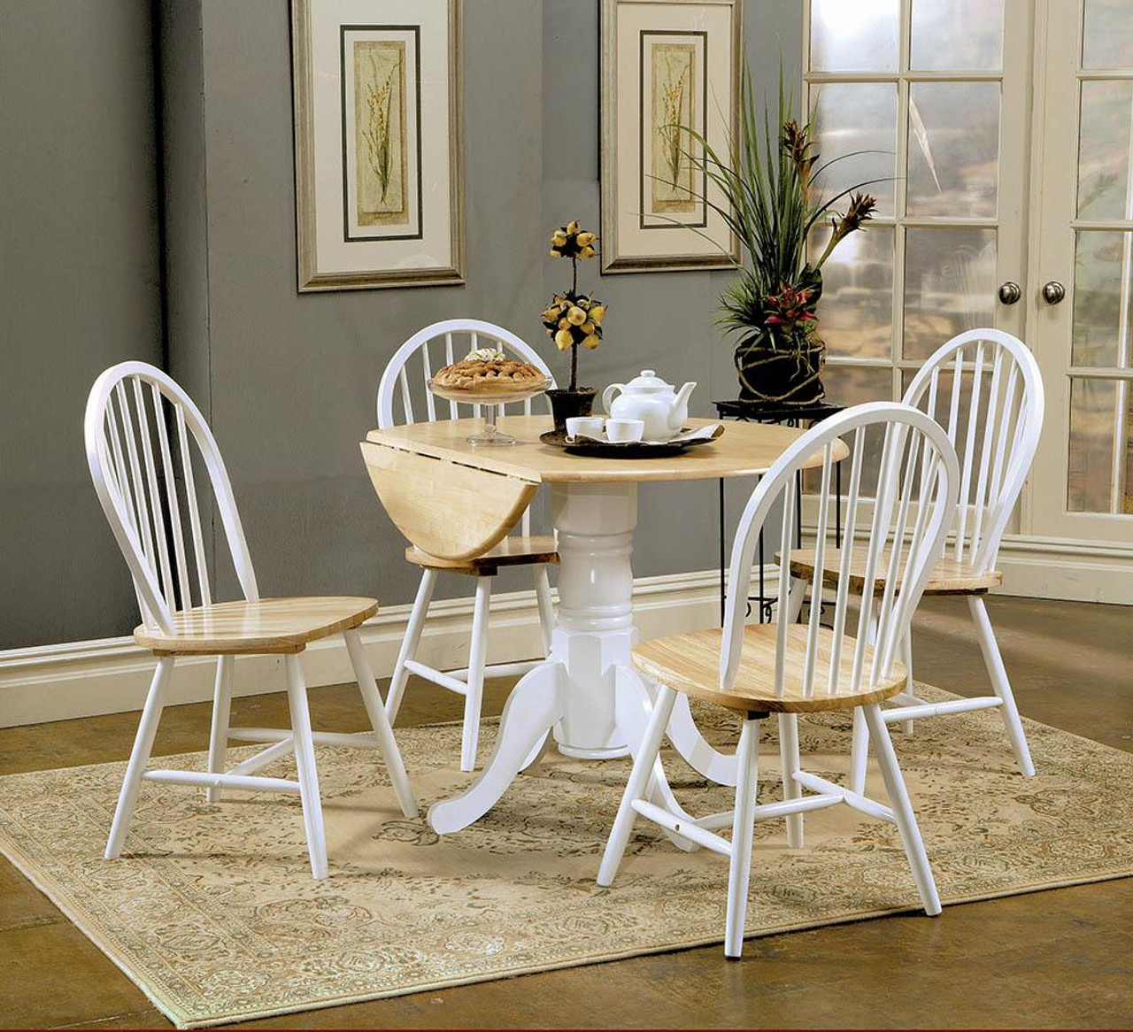 Dinettes Wood Drop Leaf Round Dining Table Natural Brown And White 4241 At Altman S Billiards And Barstools