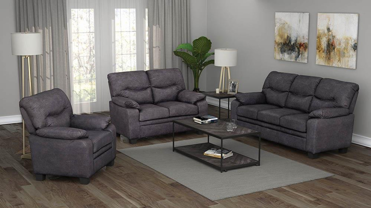charcoal meagan pillow top arms upholstered loveseat charcoal 506565