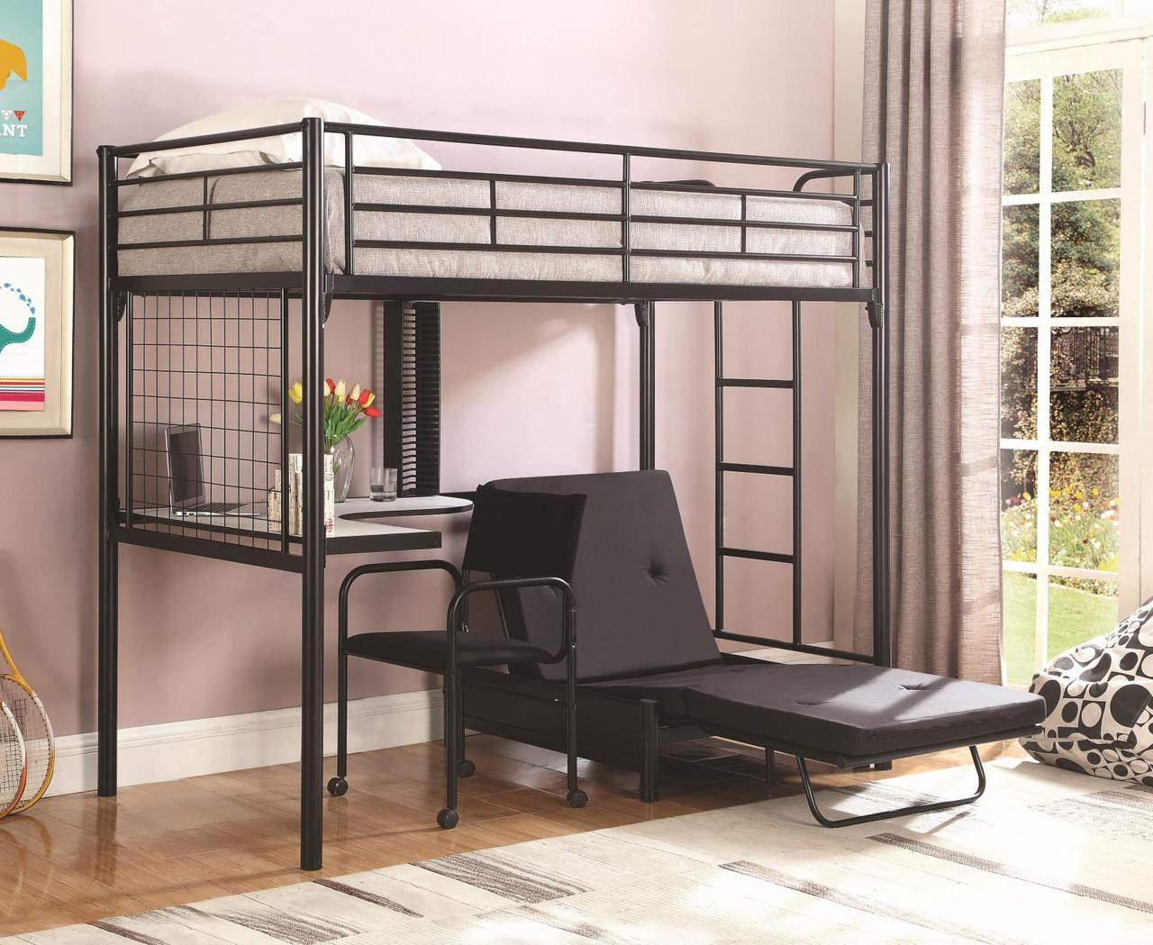 Jenner Workstation Loft Bed Jenner Twin Futon Workstation Loft Bed Black 2209 At Altman S Billiards And Barstools