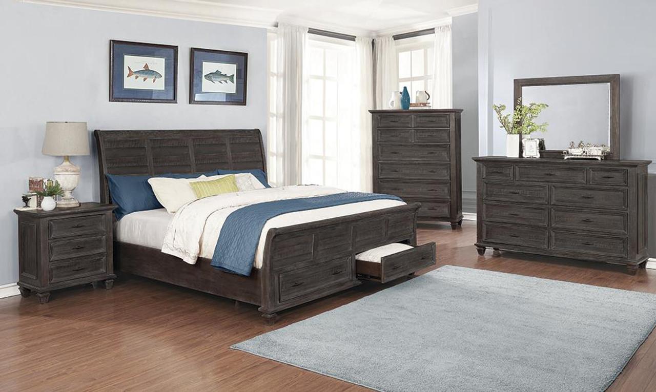 Atascadero 5 Piece Queen Storage Bedroom Set Weathered Carbon 222880q S5 At Altman S Billiards And Barstools