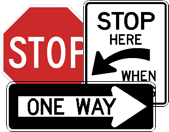 stop, one-way, and stop here when flashing signs