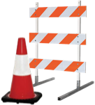 Traffic cone and barricade