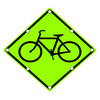 W11-1 Bicycle Symbol Yellow Green