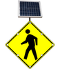 Flashing LED W11-2 Pedestrian Crossing Sign YG