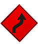 W1-4R REVERSE CURVE ARROW SYMBOL RIGHT ROLL UP SIGN