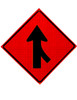 w4-1r right lane merge symbol roll up sign