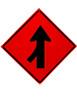 left lane merge roll up sign