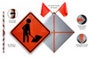 Flagger Paddle Symbol Long Staff Roll-Up Sign