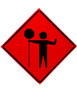 Flagger Paddle Symbol - Long Staff Roll Up Sign