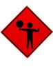 FLAGGER PADDLE SYMBOL SHORT STAFF ROLL UP SIGN