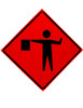 W20-7A FLAGGER SYMBOL ROLL UP SIGN