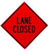 lane closed roll up sign