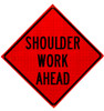 shoulder work ahead roll up sign