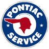 "circle shape, blue red and white sign, features Indian and ""Pontiac service"""