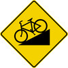 diamond shape, black and yellow. image of bike going downhill.