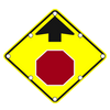 W3-1 SOLAR STOP AHEAD SIGN