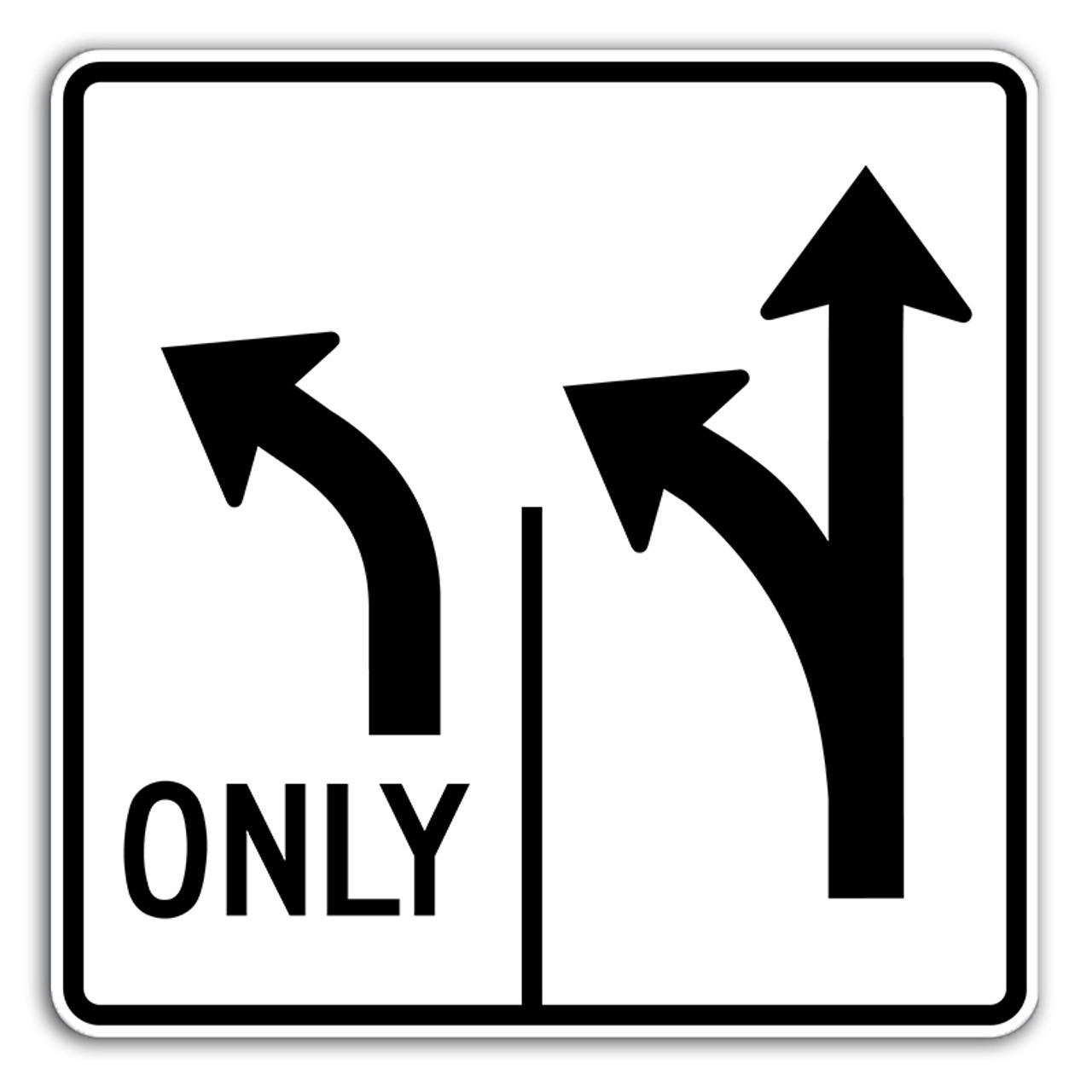 R3 2 Sign >> R3 8llt Left Only Left Thru Sign