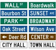 Buy a custom personalized street name sign.