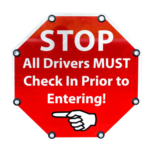 Custom Solar Blinking LED Signs - STOP ALL DRIVER MUST CHECK IN PRIOR TO ENTERING