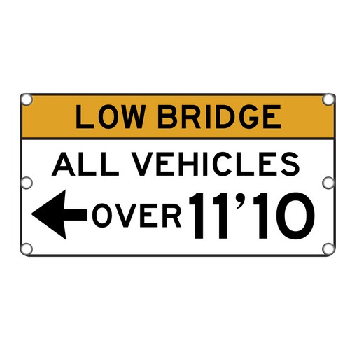 SOLAR FLASHING LOW BRIDGE SIGN